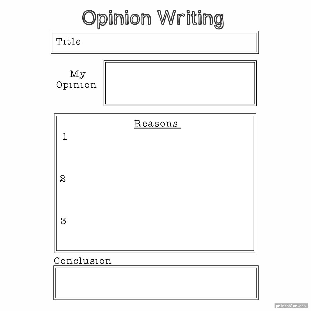 printable templates for 2nd grade opinion writing for use