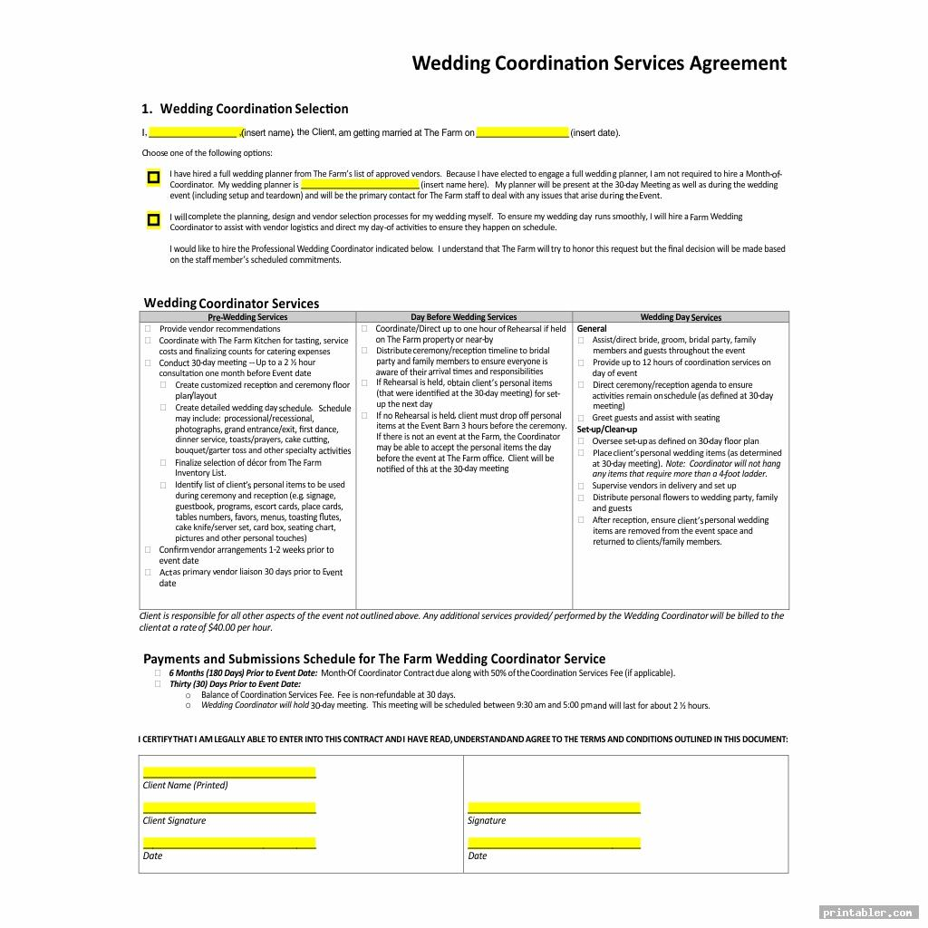 Printable Wedding Planner Contract Agreement