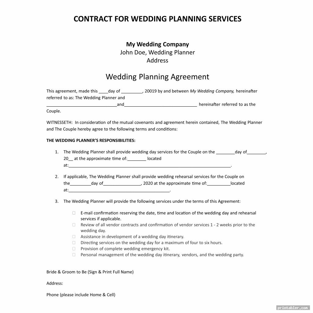 simple printable wedding planner contract agreement