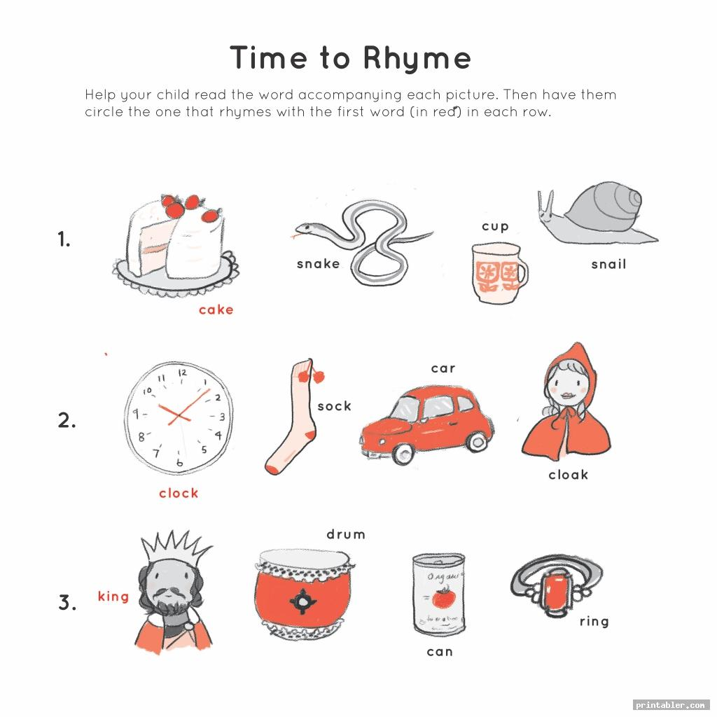 time to rhyme 3 year old preschool printables