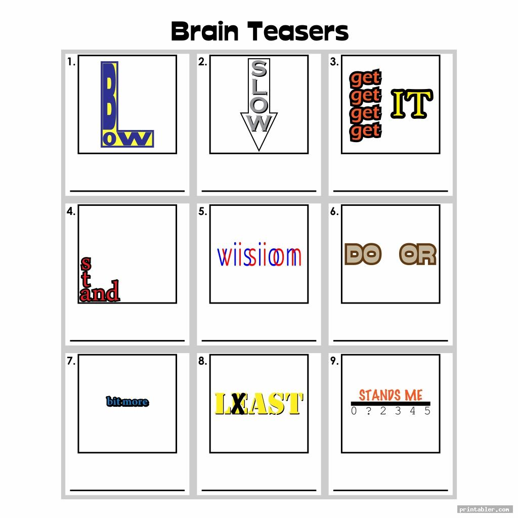 Printable Brain Teasers