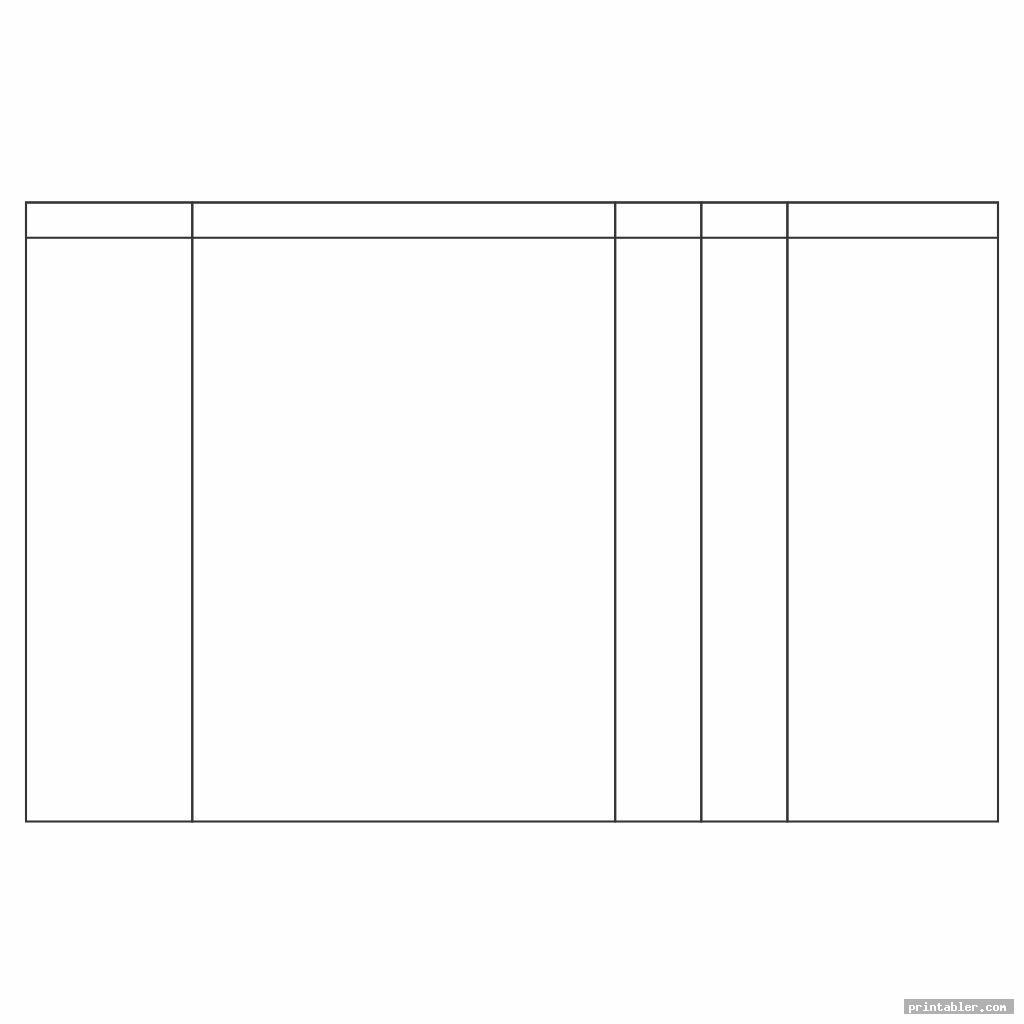 address printable column template 5 columns