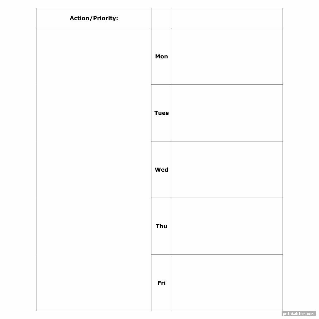 blank monday through friday planner printable