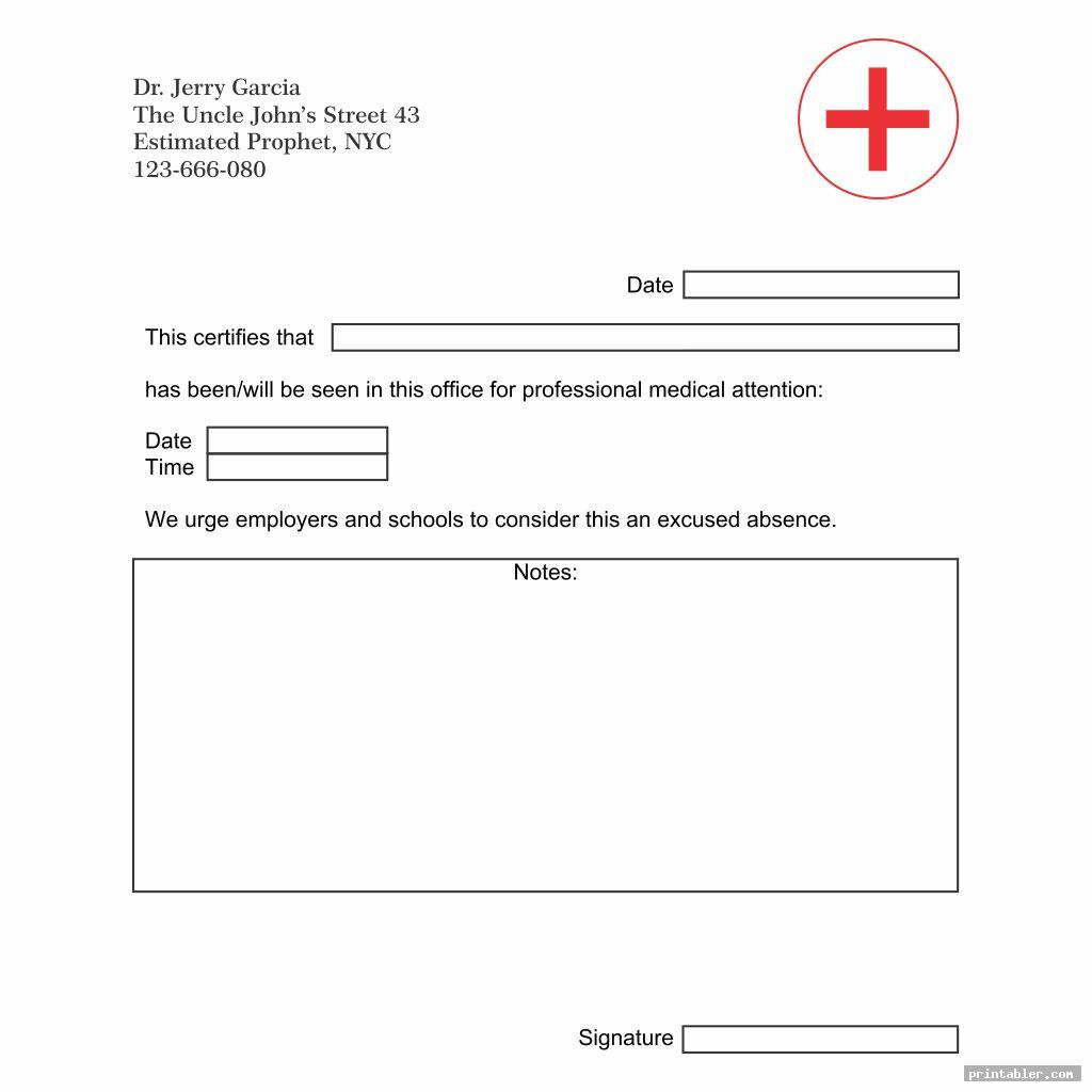 blank printable doctor note template for use