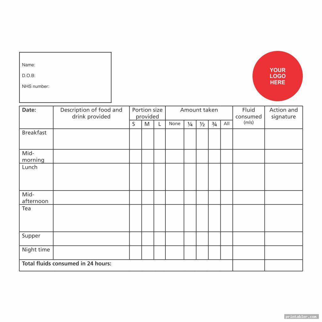 blank printable fluid intake charts