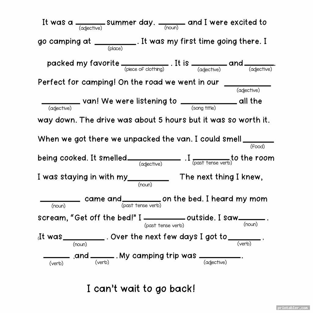 photograph relating to Summer Mad Libs Printable referred to as Tenting Crazy Libs Printable -