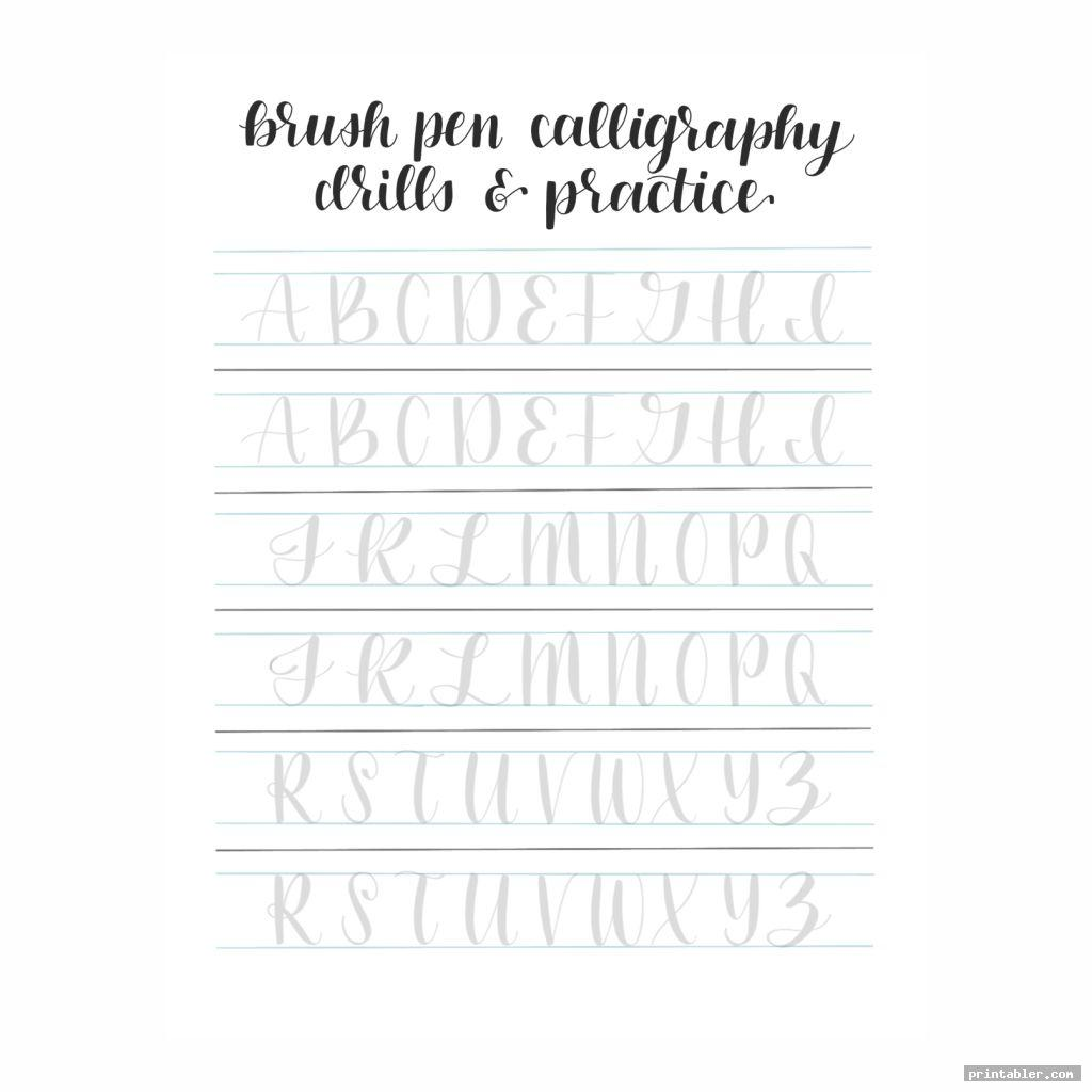 capital letter modern calligraphy practice sheets printable