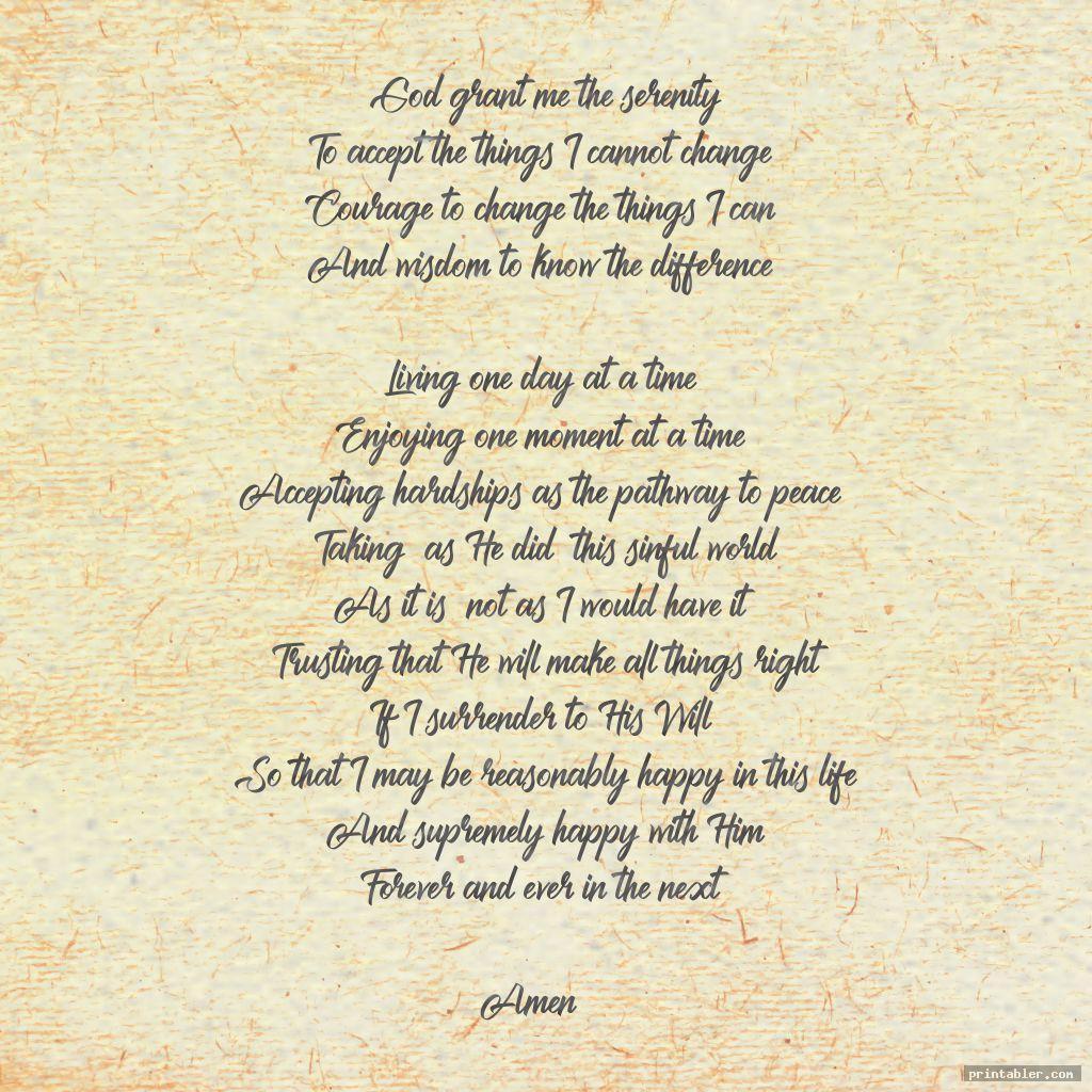 classic the serenity prayer printable version