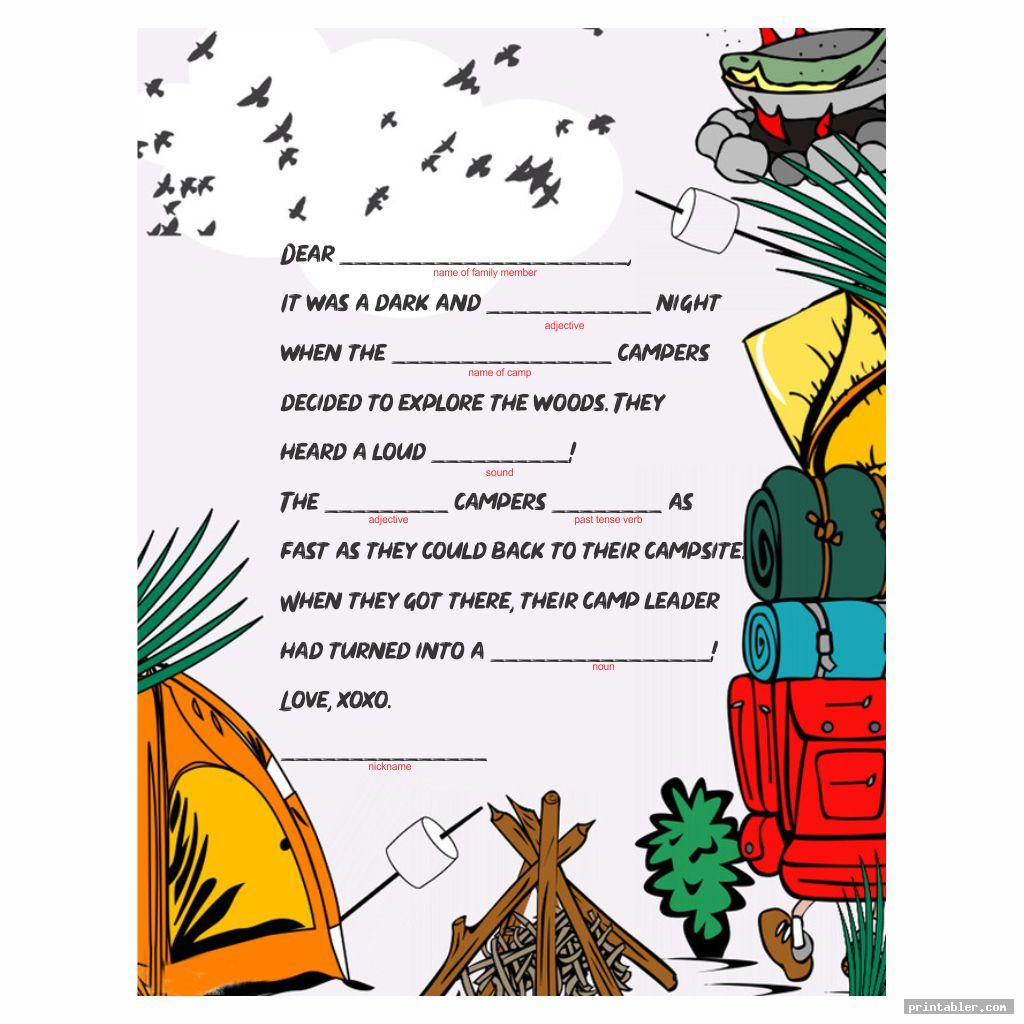 Camping Mad Libs Printable