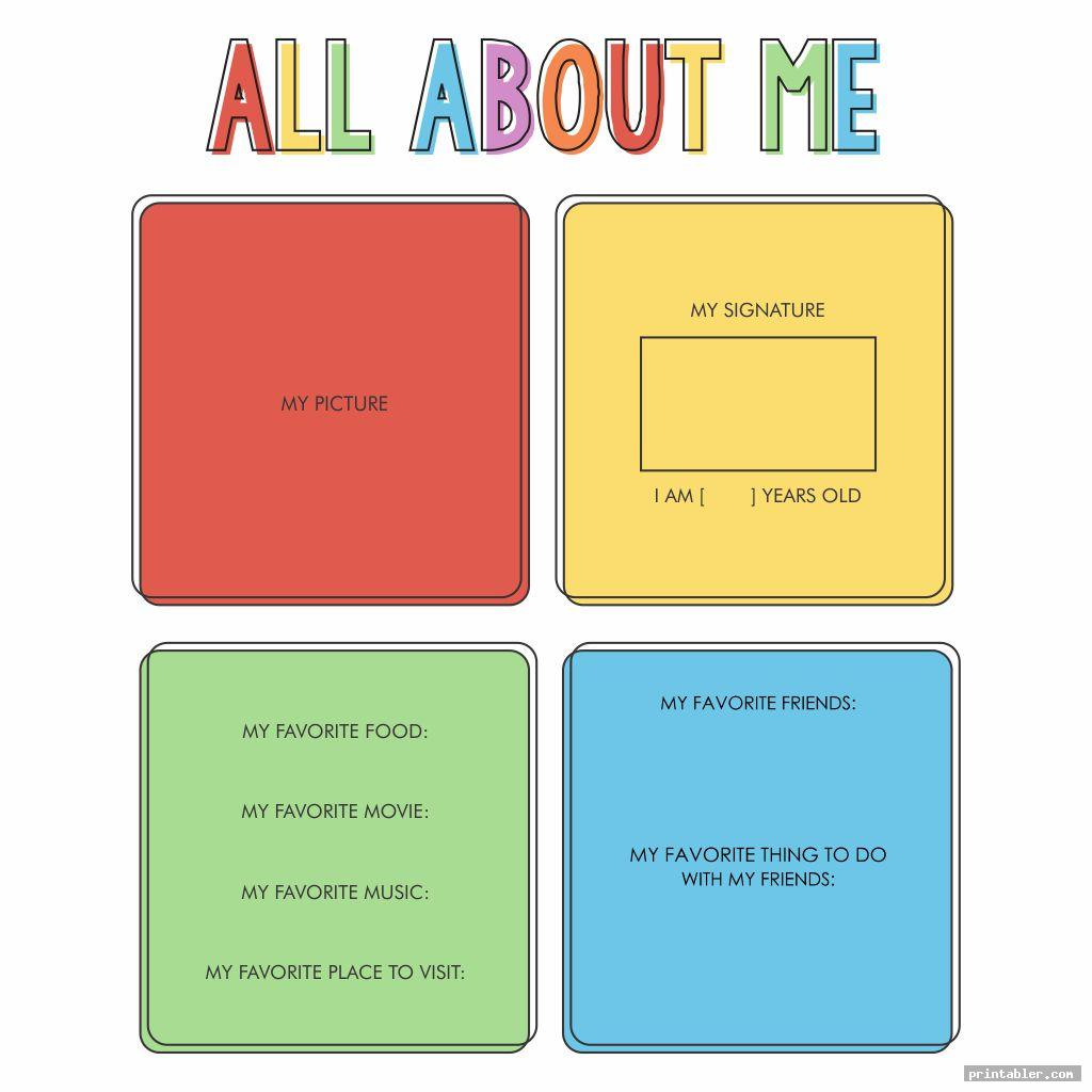 colorful printable all about me posters