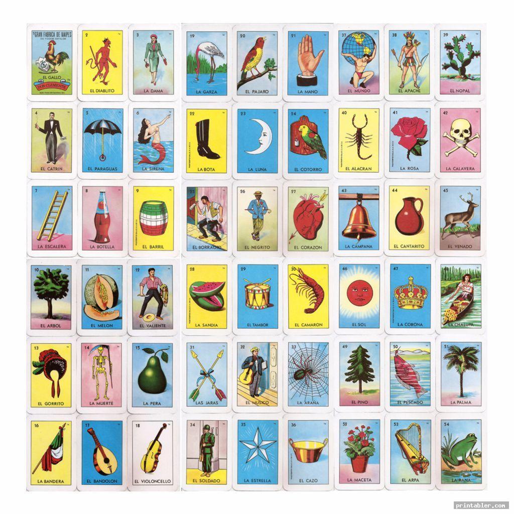 complete mexican bingo cards printable