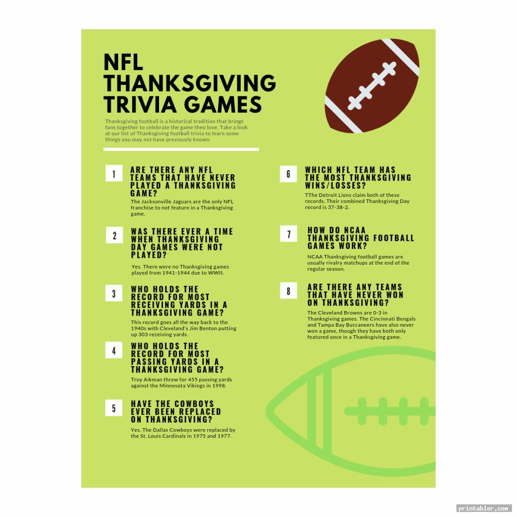 complete nfl thanksgiving day trivia printable games