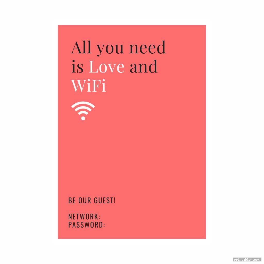 cool guest wifi password printable