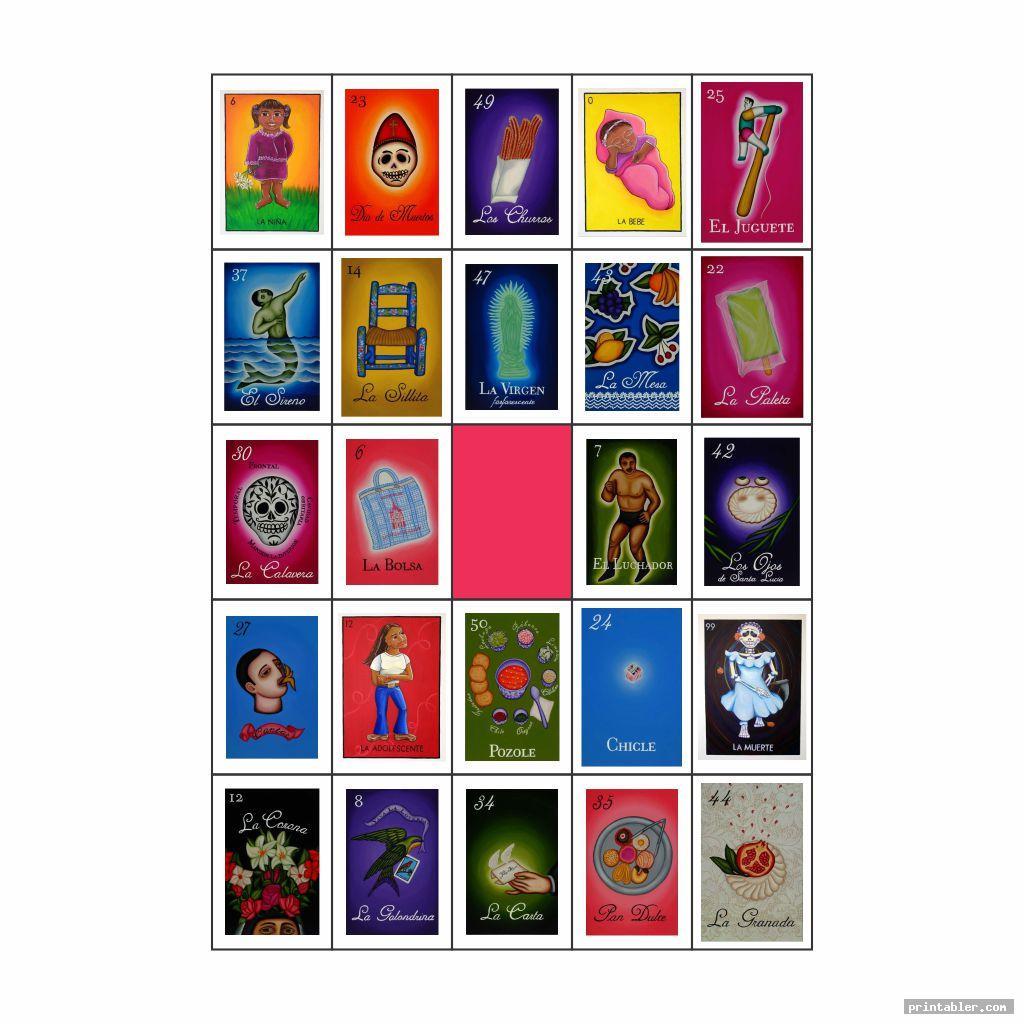 cool mexican bingo cards printable
