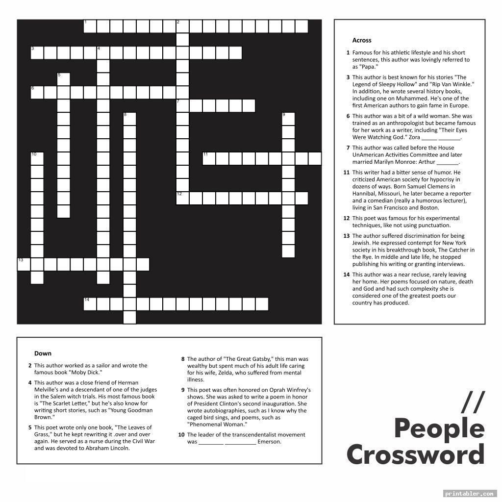 cool printable people crossword puzzles