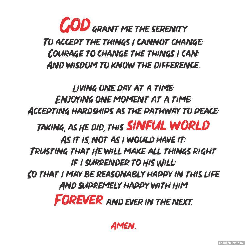 cool the serenity prayer printable version