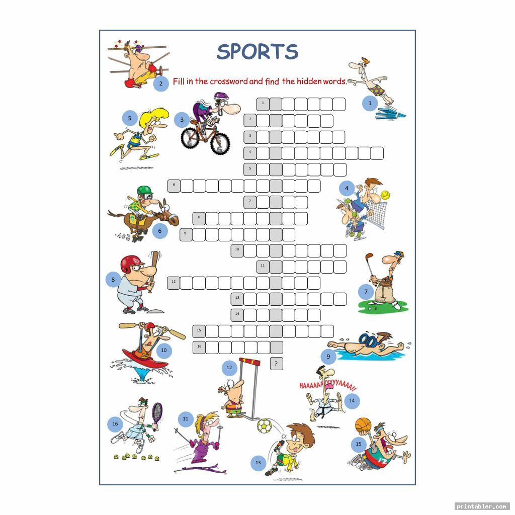 cute sport crossword printable