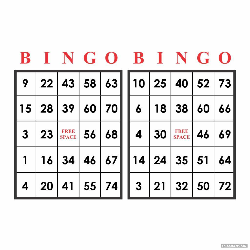 Printable Bingo Numbers 1-75