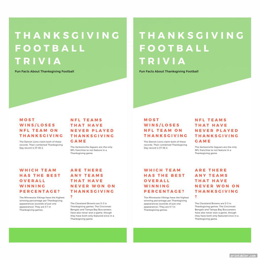 great nfl thanksgiving day trivia printable games