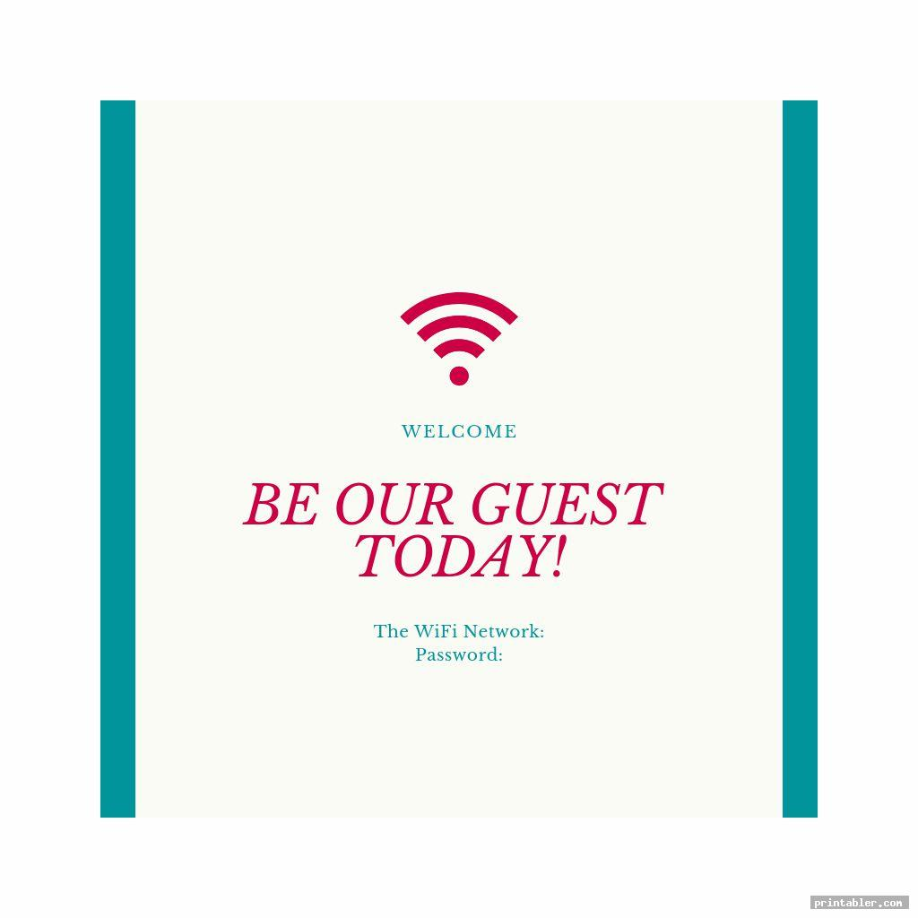 guest wifi password printable template for use