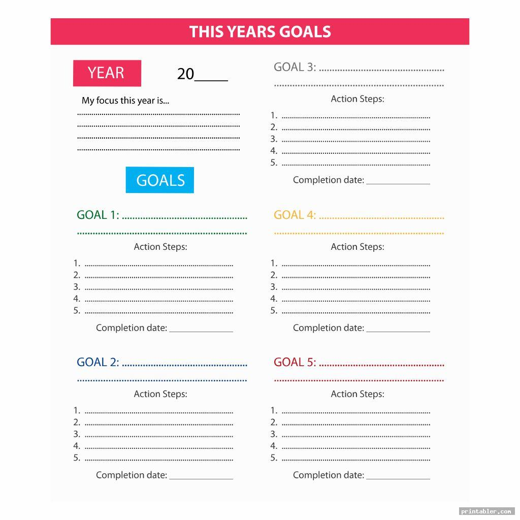 6 Best Goal List Printable
