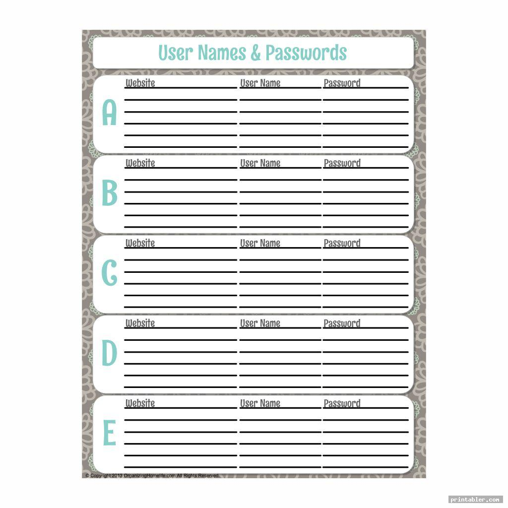 password keeper printable for use