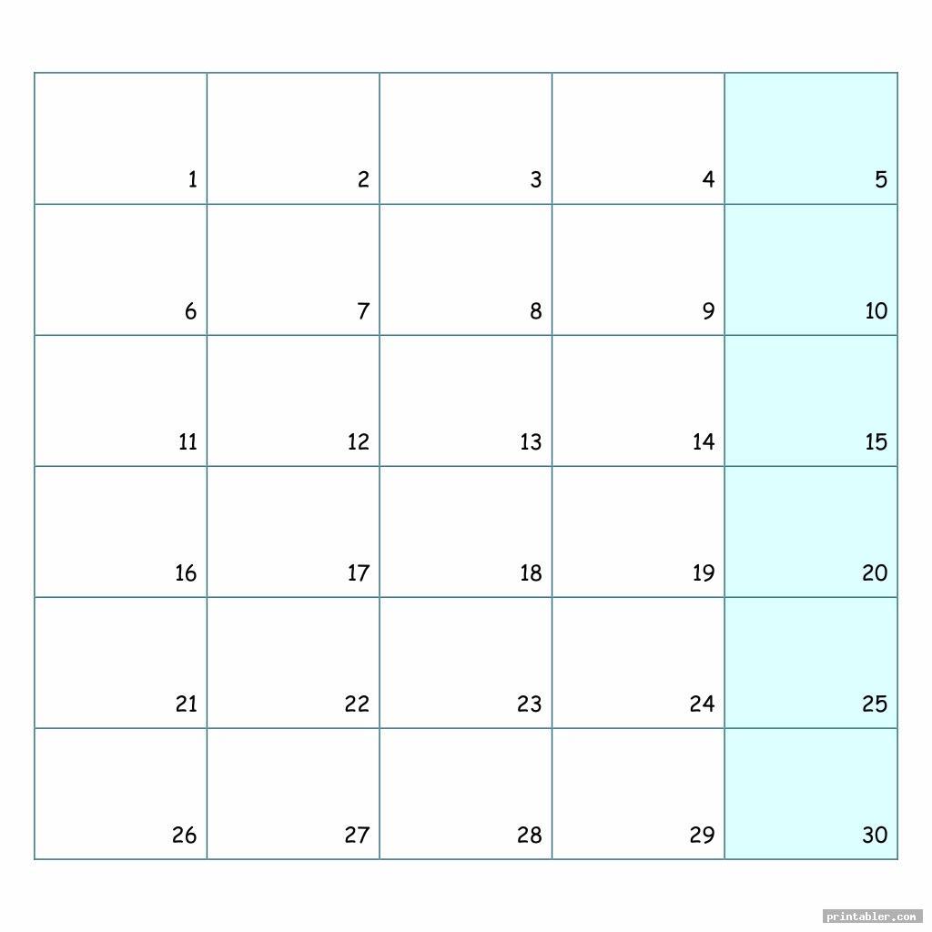 printable number chart 1 30 image free