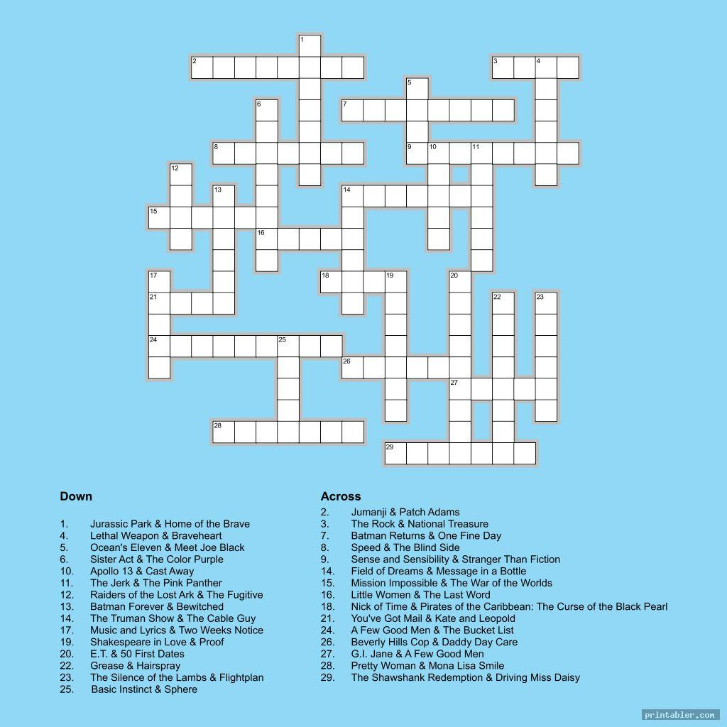 Printable People Crossword Puzzles