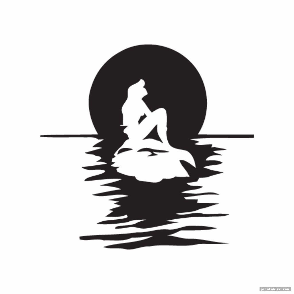 Simple Little Mermaid Printable Stencils