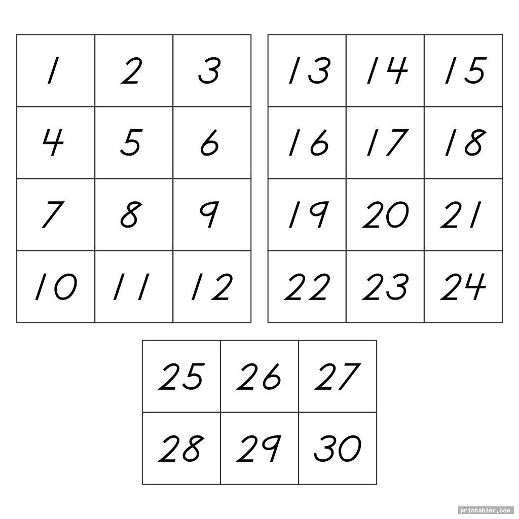 simple number flashcards 1 30 printable
