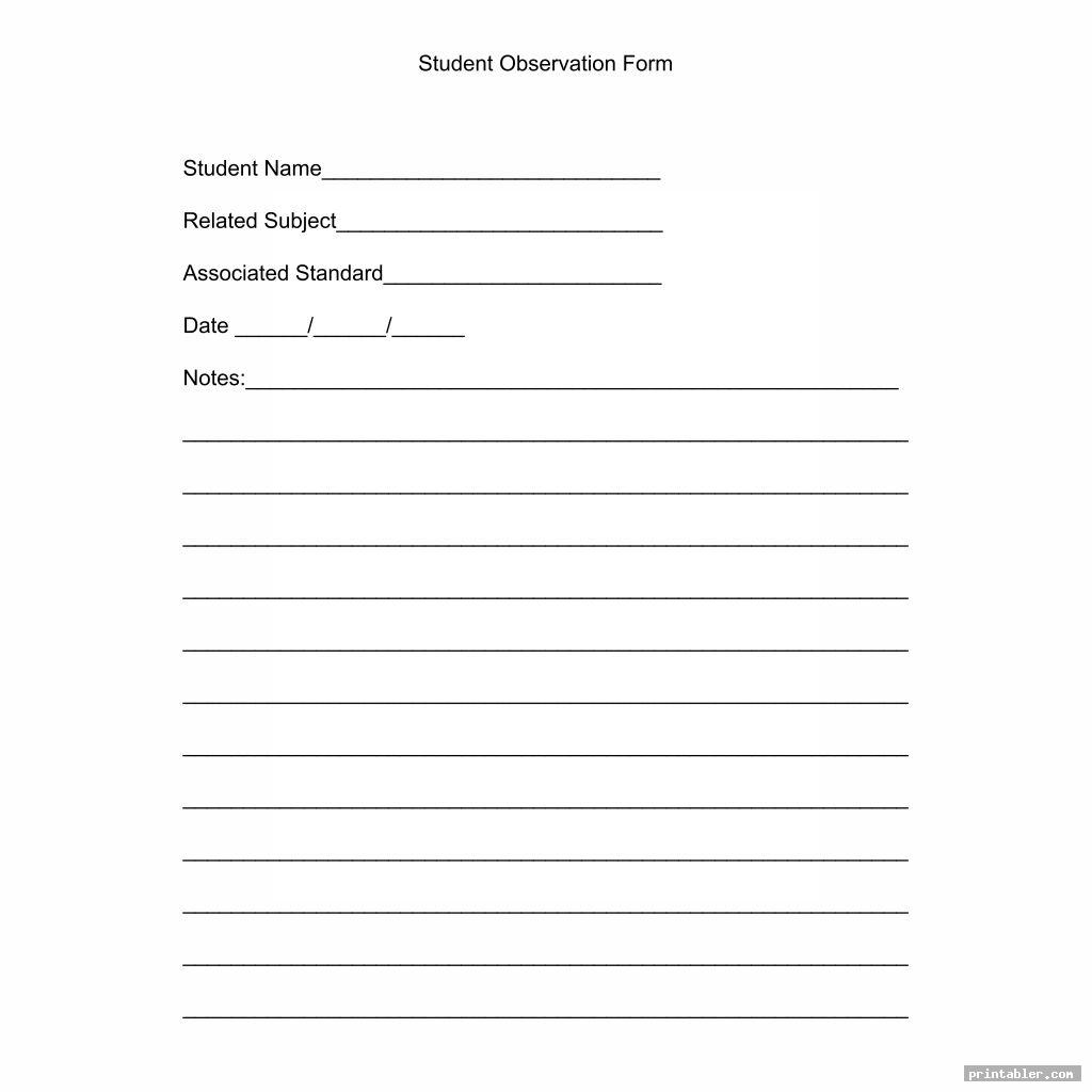 simple printable observation forms
