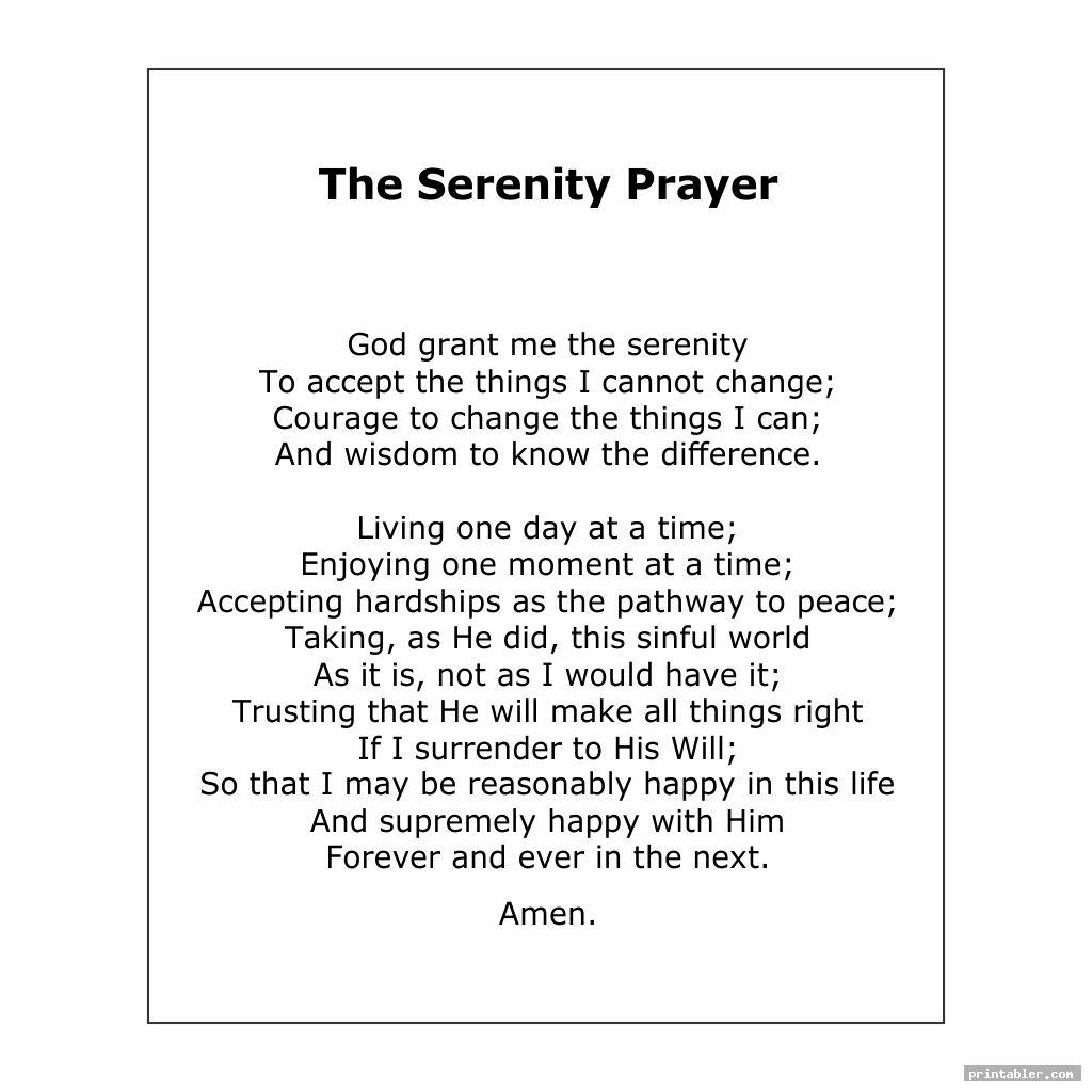 simple the serenity prayer printable version