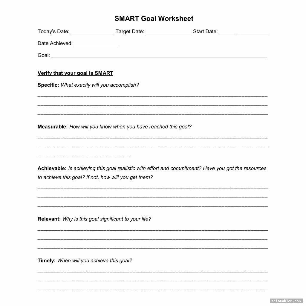 smart printable goal list