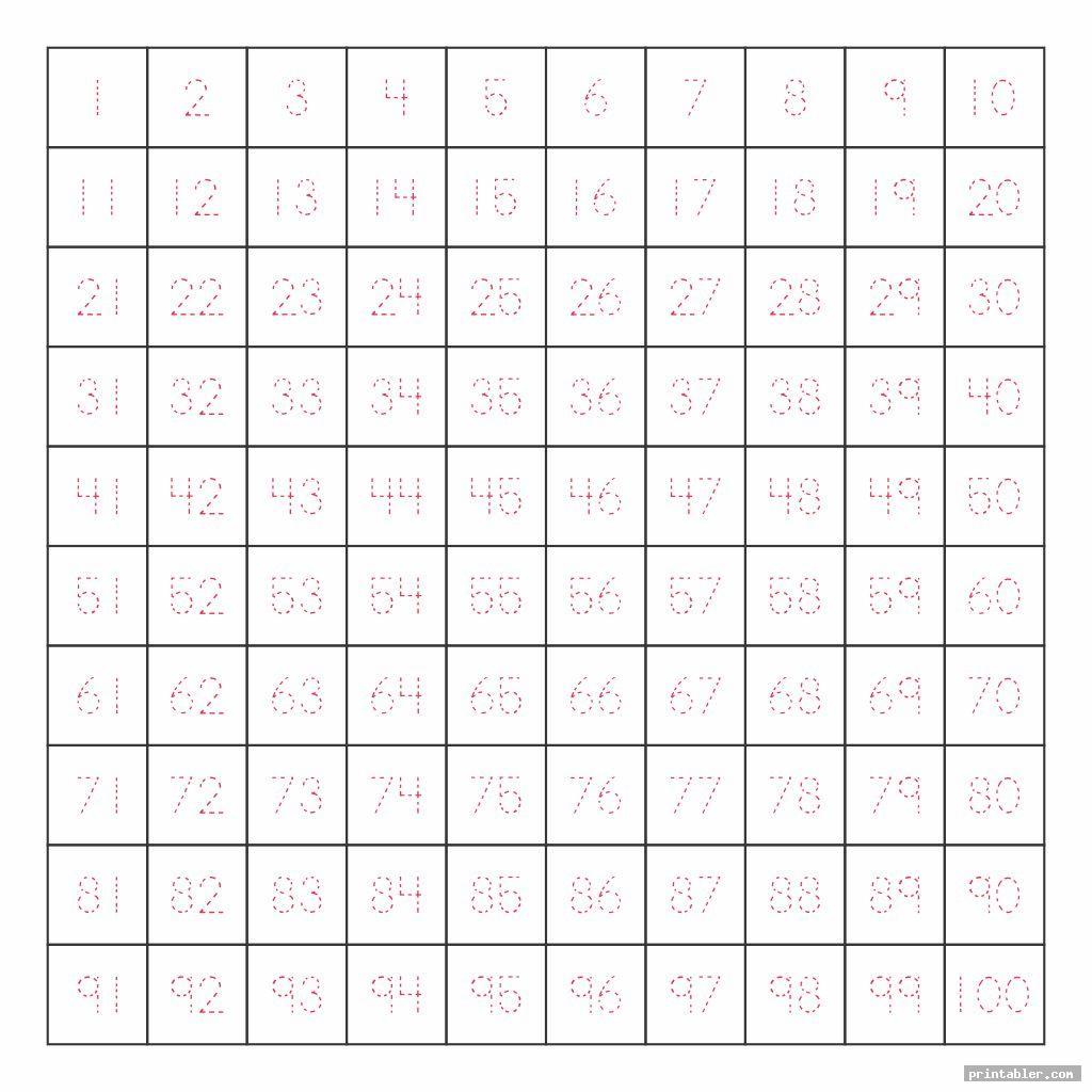 tracing 1 100 chart printable