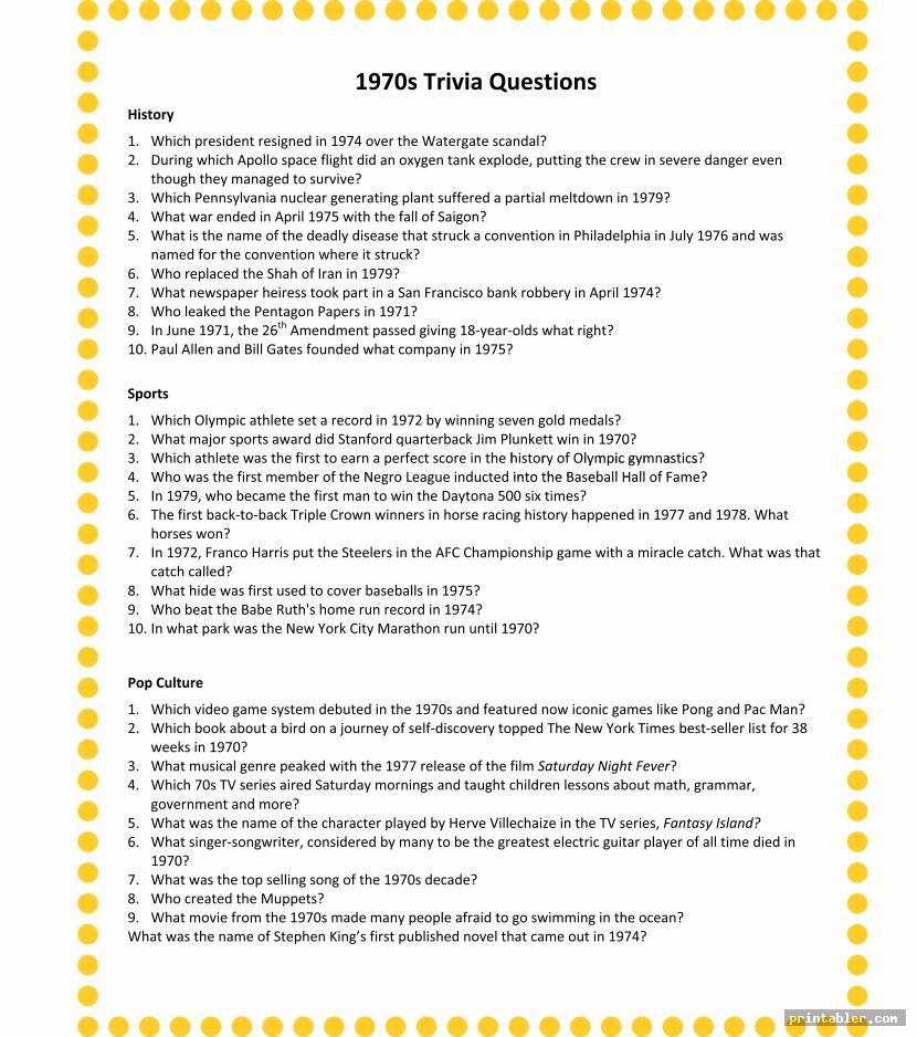 Printable Trivia for Seniors
