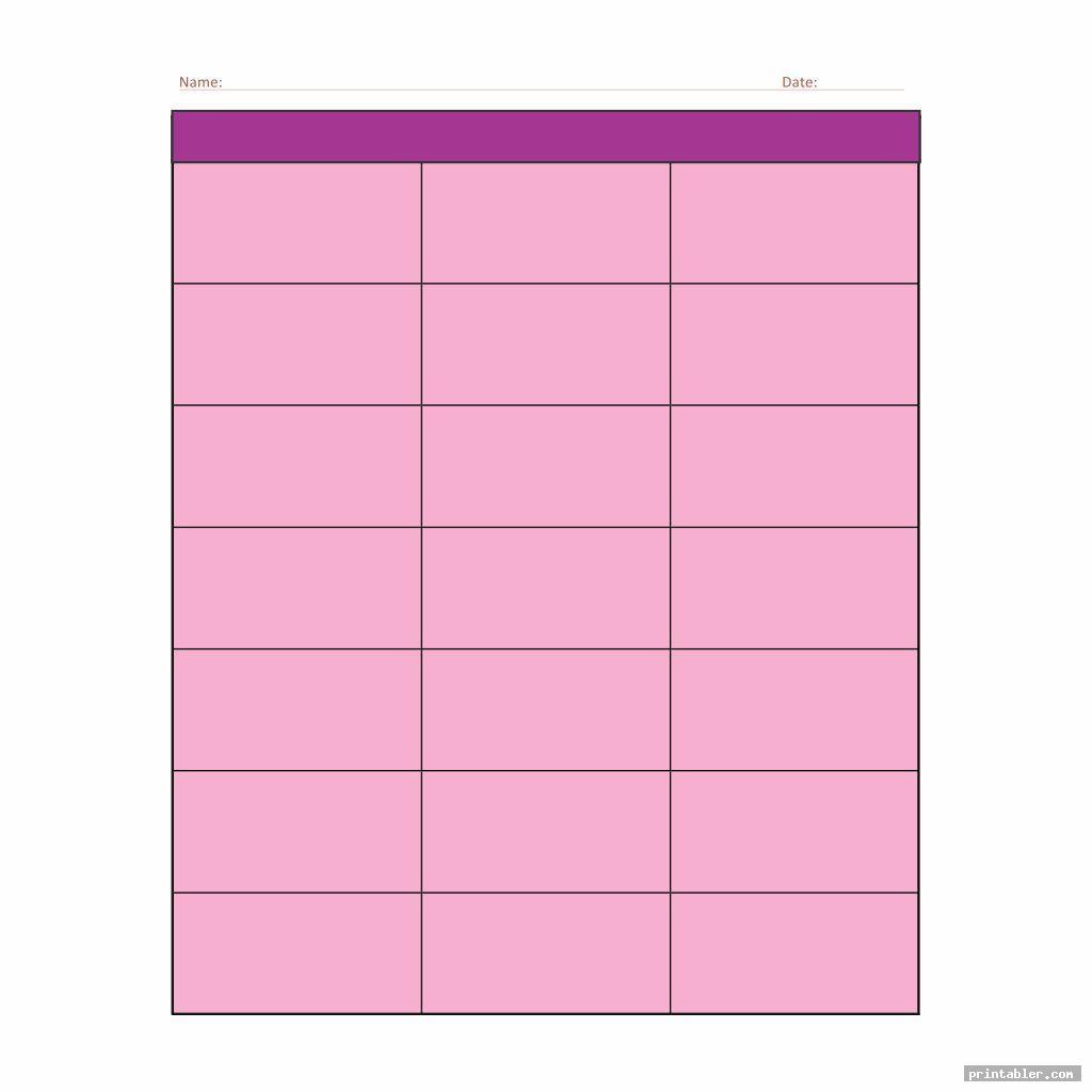 3 column chart printable templates for use