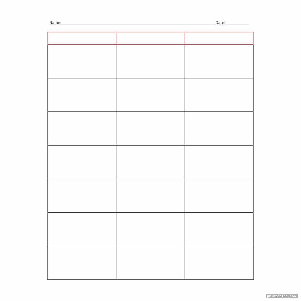 3 column chart printable templates image free