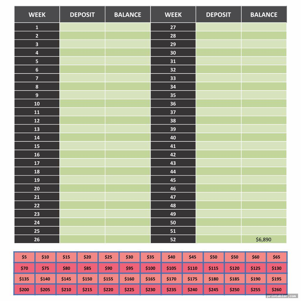 Bi Weekly Money Challenge Printable