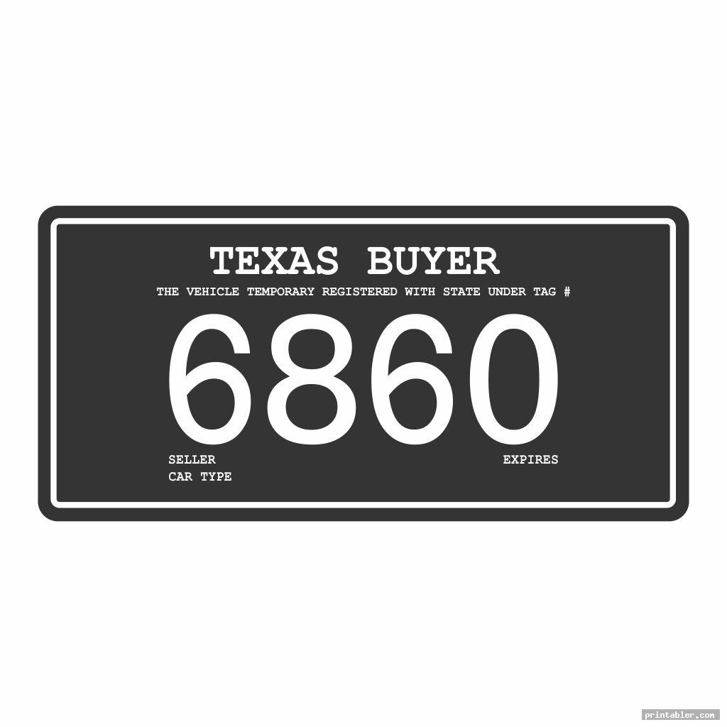 basic texas temporary license plate printable