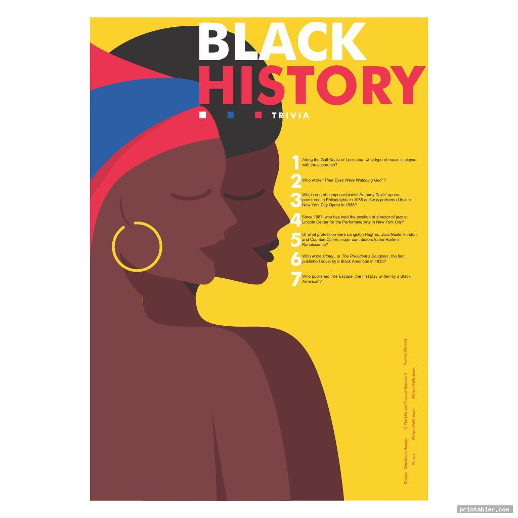 Black History Trivia Questions and Answers Printable