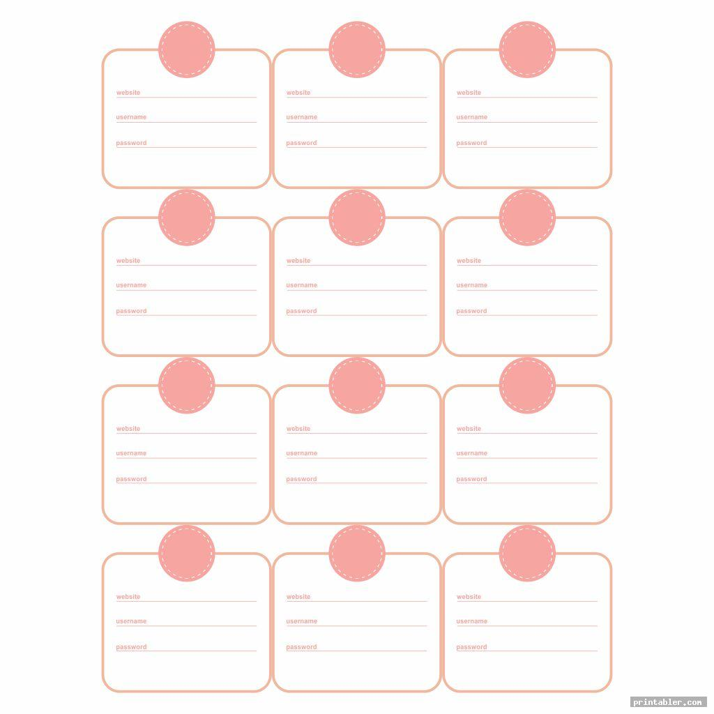 Username and Password Sheet Printable 2