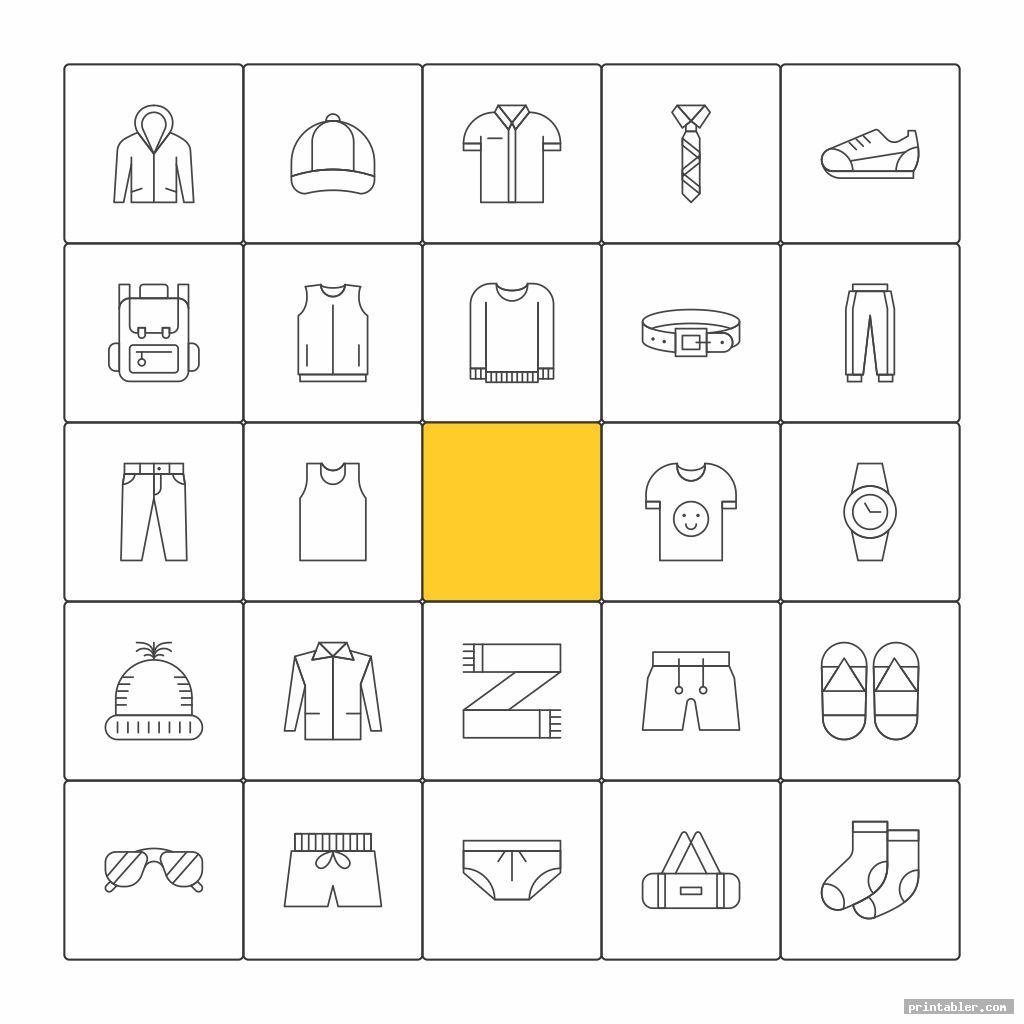 bingo clothes printable worksheets