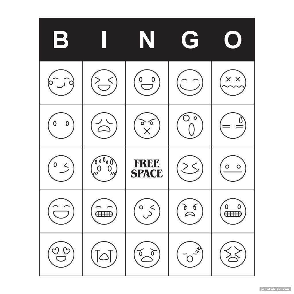 black and white emotions bingo printable game