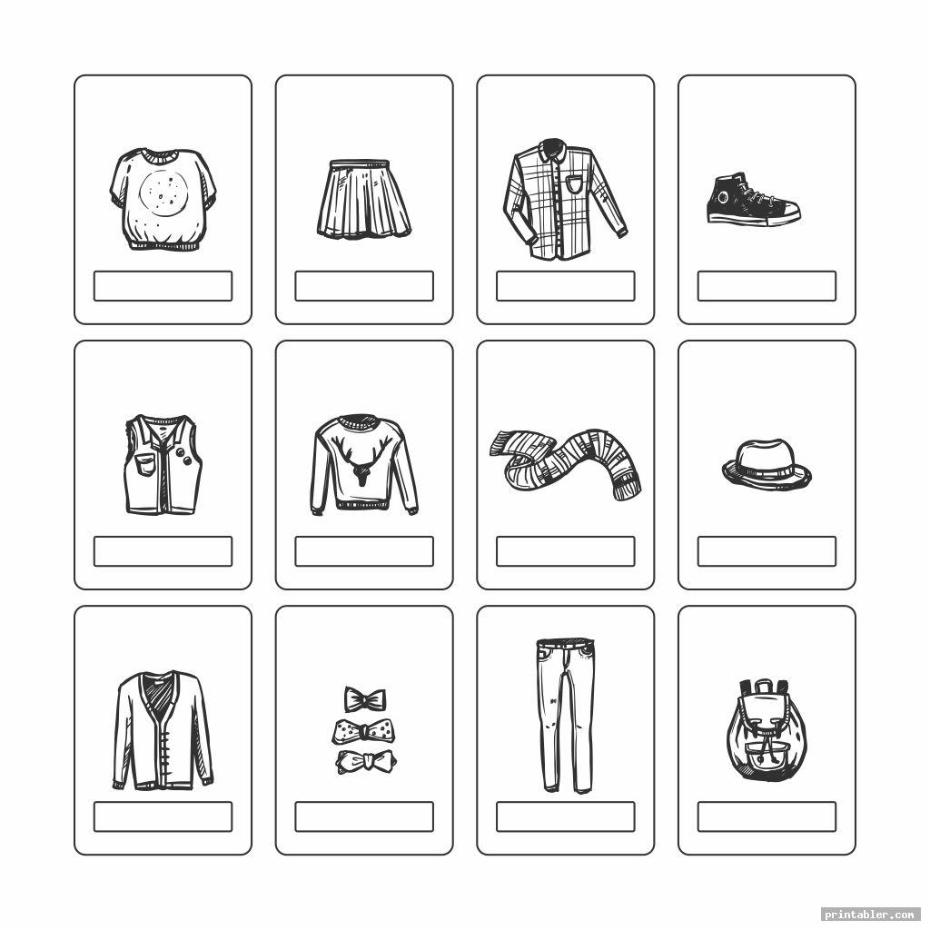 black and white printable clothes flashcards for toddlers