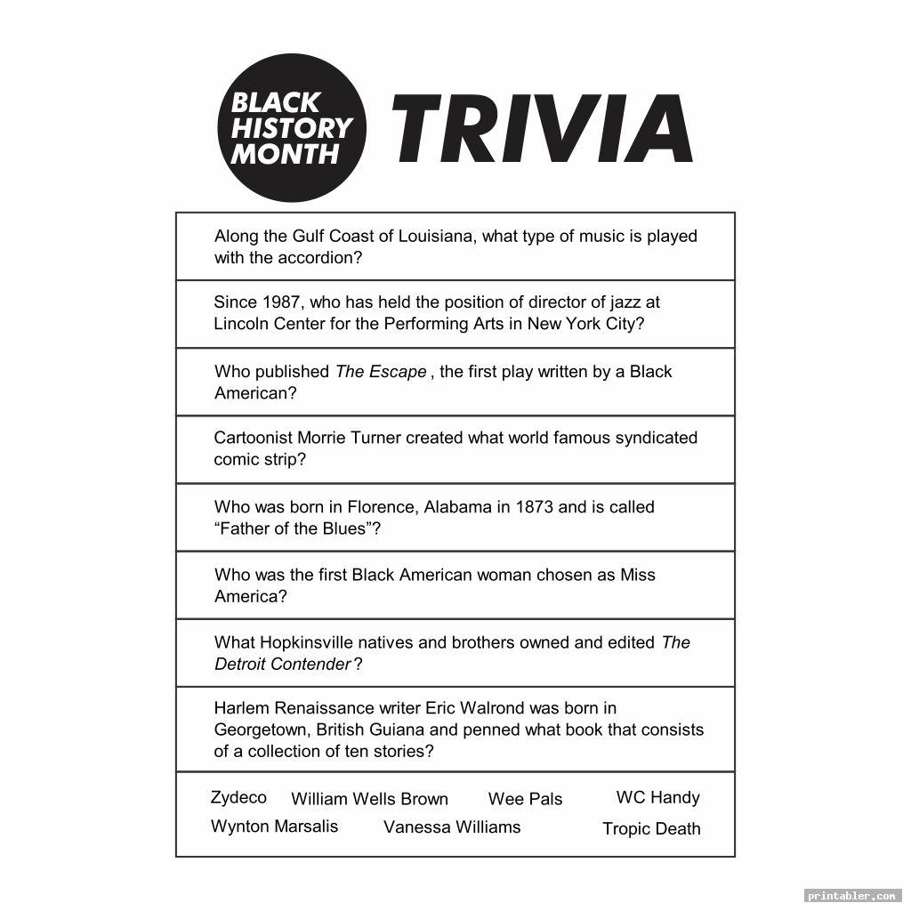 black history month trivia printable image free