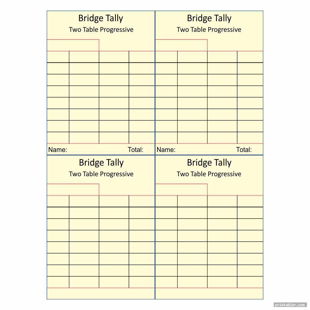 blank bridge tally cards printable