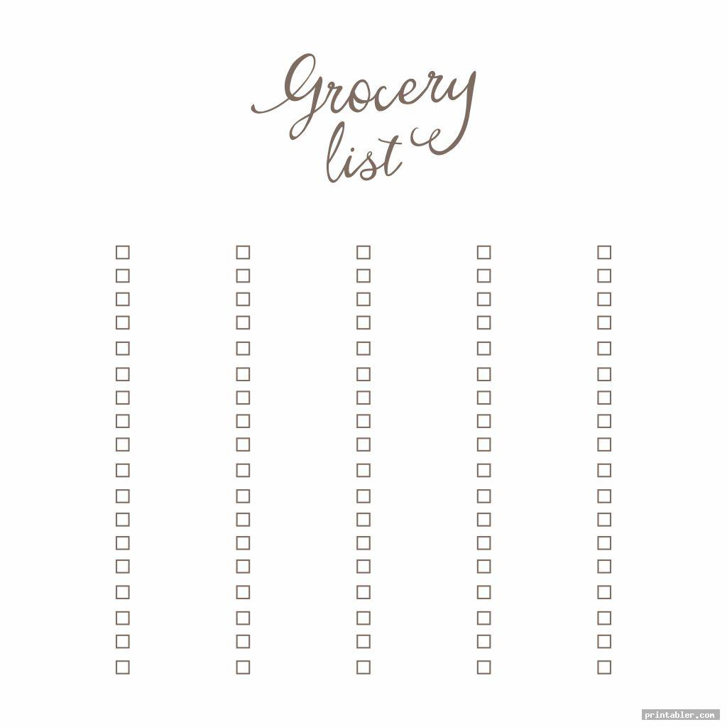 blank grocery store list printable