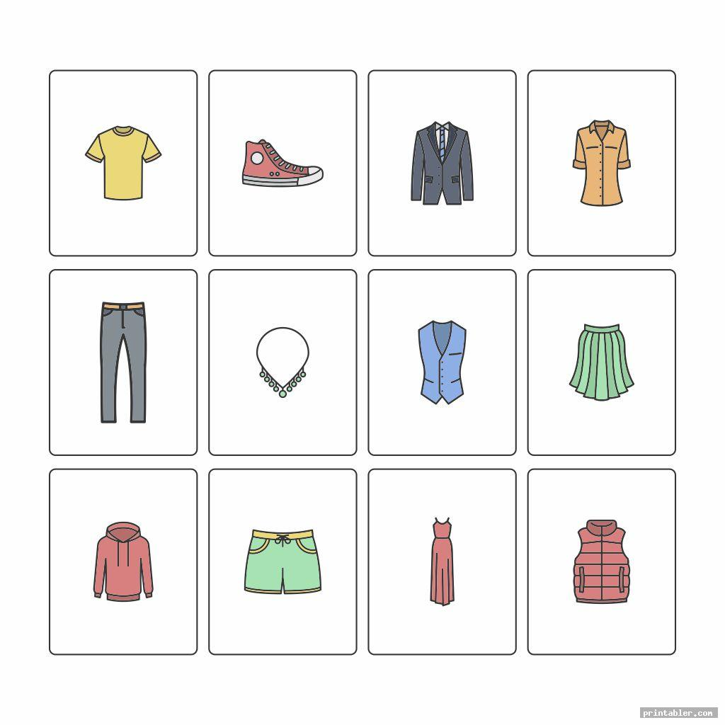blank printable clothes flashcards for toddlers