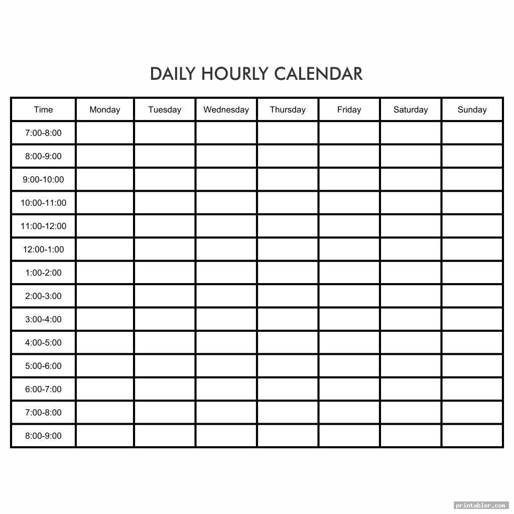 blank printable daily hourly calendar template