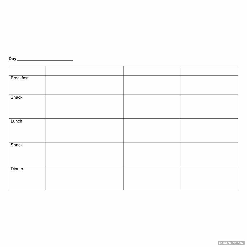 blank printable diet journal template